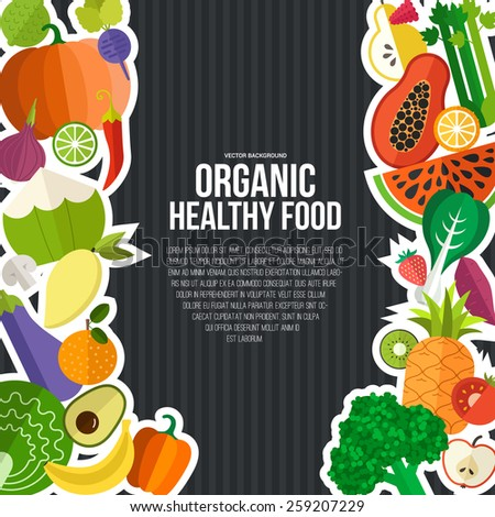 Diet and organic food template. Healthy eating vector concept with flat fruits, vegetables and copyspace. Great for healthy magazines, cooking web sites and restaurant newsletters.  - stock vector