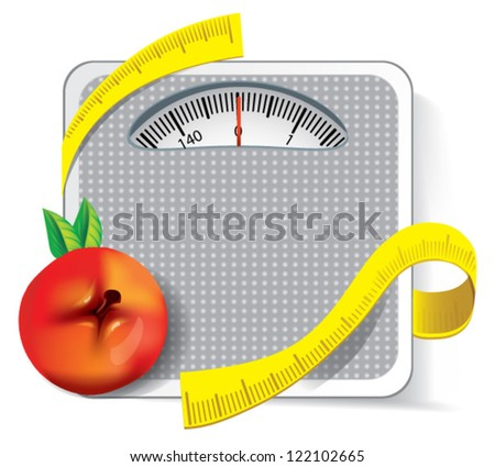 Diet concept. Apple with measuring - stock vector