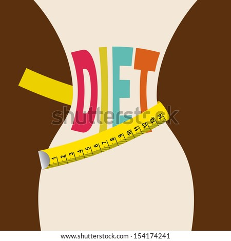 diet design over brown background vector illustration - stock vector