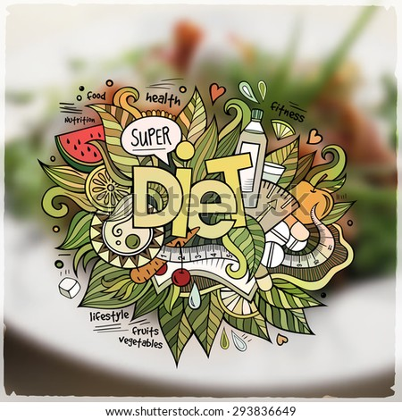 Diet hand lettering and doodles elements and symbols emblem. Vector blurred background - stock vector