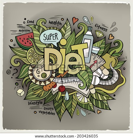 Diet hand lettering and doodles elements background. Vector illustration - stock vector