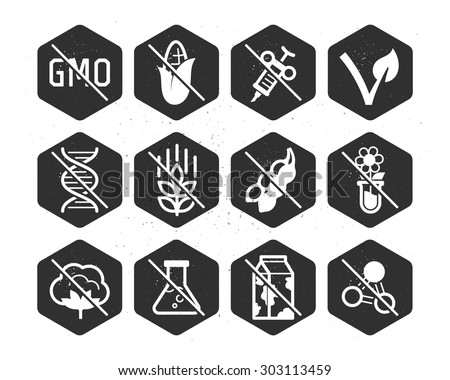 Diet icons and labels, food intolerance  // Black & White - stock vector