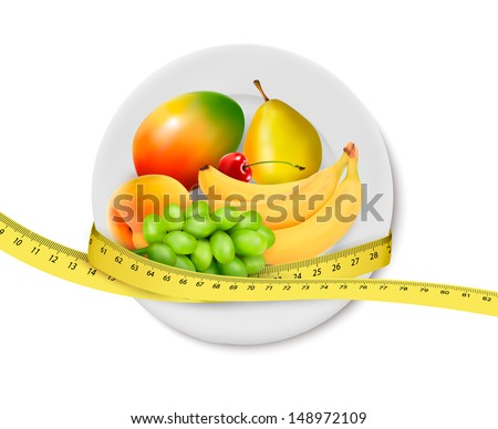 Diet meal. Fruit in a plate with measuring tape. Concept of diet. Vector illustration  - stock vector