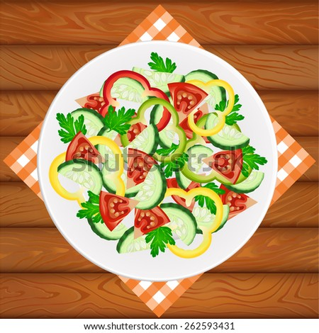 Diet salad with paprika on shiny white dish placed on the wooden table. Vector image can be used for restaurant and cafe menu design, food posters, print cards and other crafts. - stock vector