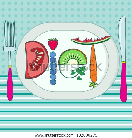 Diet. Title made of fruits, on plate. On ornate background. Creative vector illustration. - stock vector