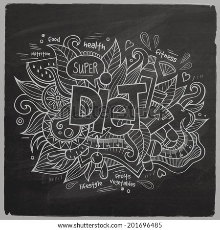 Diet Vector hand lettering and doodles elements chalkboard background - stock vector
