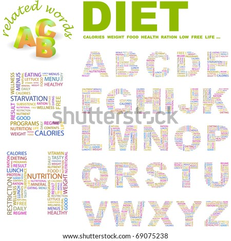 DIET. Vector letter collection. Illustration with different association terms. - stock vector