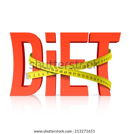 Diet with measuring tape concept. Vector.