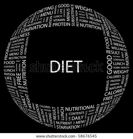 DIET. Word collage on black background. Illustration with different association terms. - stock vector