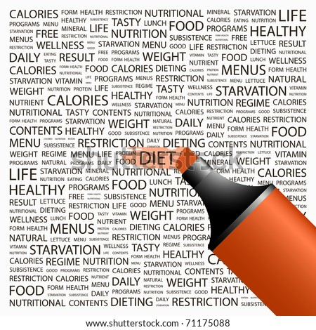 DIET. Word collage on white background. Illustration with different association terms.