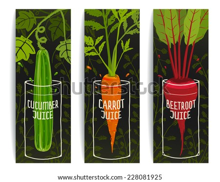 Dieting Carrot Cucumber Beet Juices Hand Drawn Design on Dark Background. Colorful vegetables design for juice package. Layered vector EPS8 - stock vector
