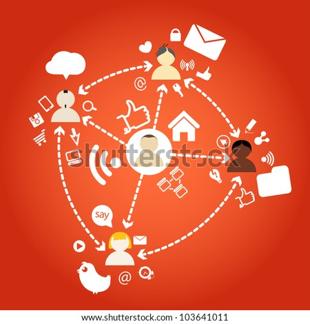 Diferrent nations of people network connections - stock vector