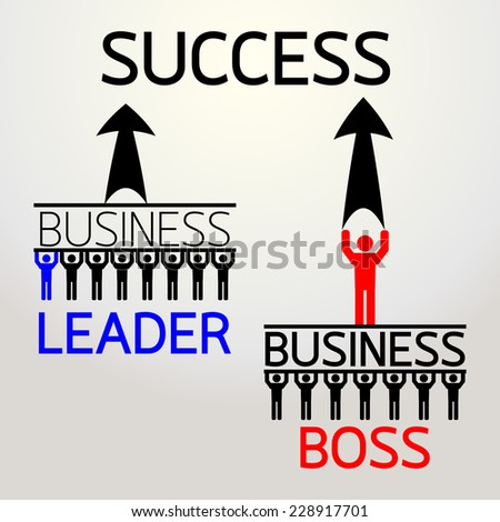 difference between boss and leader : business concept vector - stock vector