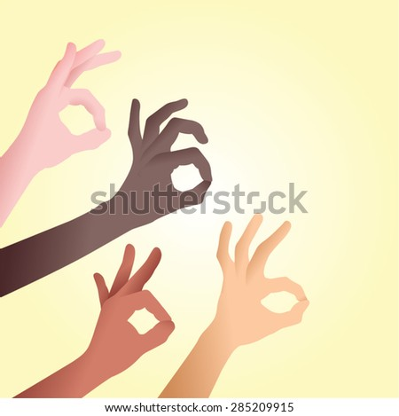 Difference races of ok sign. Racial diversity. - stock vector