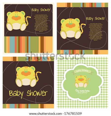 different abstract cute baby shower invitation card