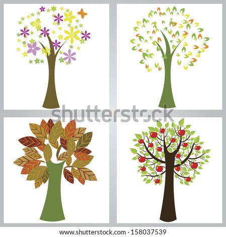 different abstract cute trees on white background