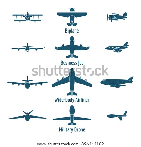 Different airplanes types. Retro plane and business jet, passenger plane and military drone. Vector illustration - stock vector