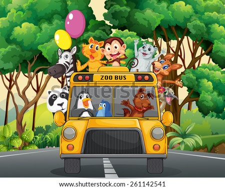 Different animals riding on a zoo bus - stock vector