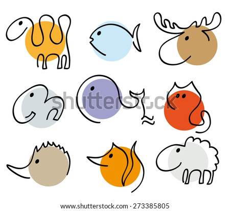 different animals silhouettes in one line, collection of simple recognizable vector illustration, camel, fish, elk, elephant,whale,cat,hedgehog,fox,sheep, isolated design elements, linear logo objects - stock vector