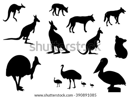 different Australian animals silhouette on white background - stock vector