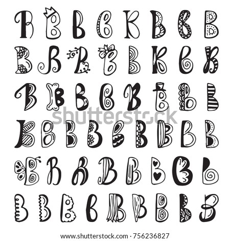 Different B Letters Hand Drawn Vector Lettering Doodle Set Of Decorative Elements