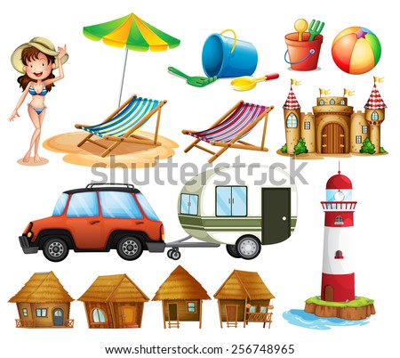 Different beach items and the tourist - stock vector