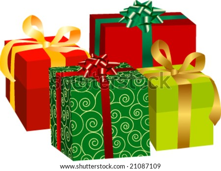 different beautifully decorated gift boxes- can be used together or separately - stock vector