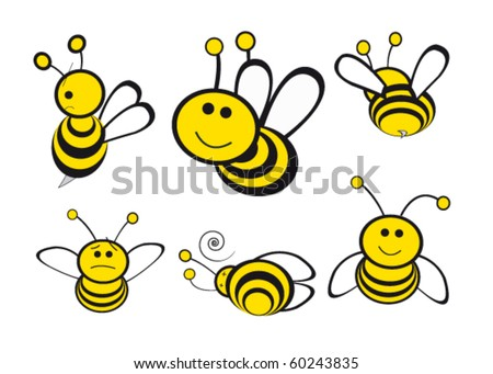 different bees expressions and positions . illustration vector - stock vector