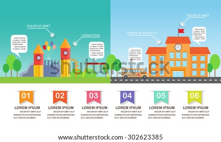 different  between playground and school background. infographics element. kid and children concept. Can be used for one web page design, brochure template, banner. Vector illustration - stock vector