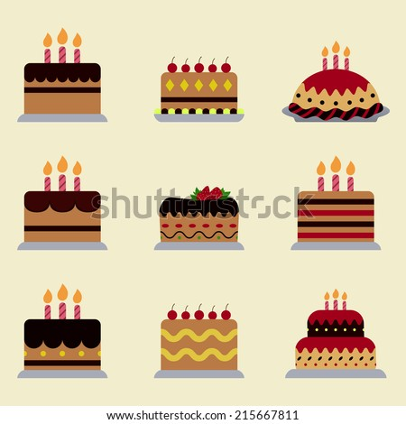 different birthday cake icon