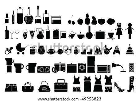 Different black silhouettes. Clothes, baby icons, shoes, cosmetics, кitchen utensils, - stock vector