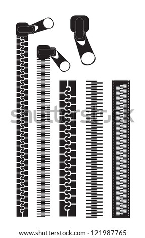 different black zippers over white background vector illustration - stock vector