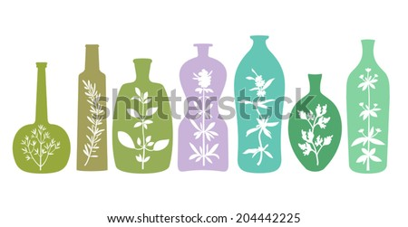 Different bottles with various silhouettes of aromatic plants. Abstract essentials with herbs. Isolated on white background. Design elements for cooking ideas. Vector EPS8, all elements are grouped. - stock vector