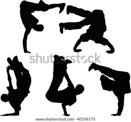 different break dance vector silhouettes - stock vector