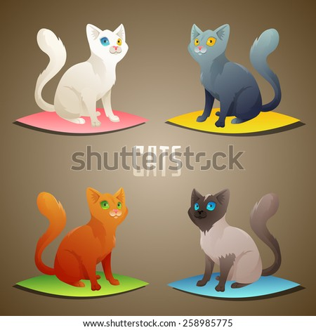 Different breeds of cute cats. Vector Illustration