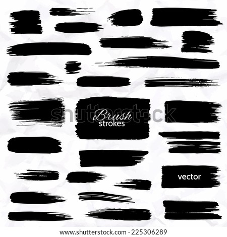 Different brush strokes on white background. Isolated objects. Set of design elements. Vector illustration. - stock vector