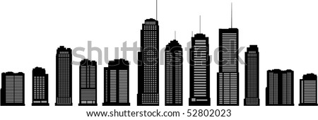 Different building silhouettes - stock vector