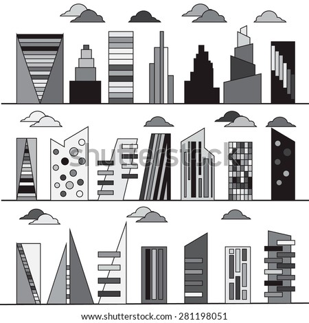 Different building vector elements for creating your perfect city. Elements for your pattern, web site design. Object are separeted in layers and groups.  - stock vector