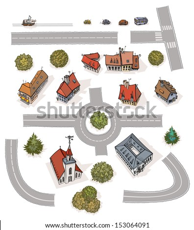 Different Buildings. Set of several buildings, trees, vehicles and road seamless modules, all in separated layers. - stock vector
