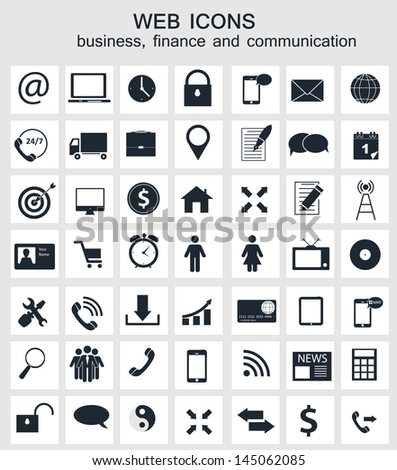 Different business, finance and communication icons vector illustration - stock vector