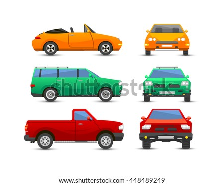 Different car vehicle transport type design sign technology style vector. Generic car different design flat vector illustration isolated on white. Pickup, sedan, bus or truck van and other car vehicle - stock vector