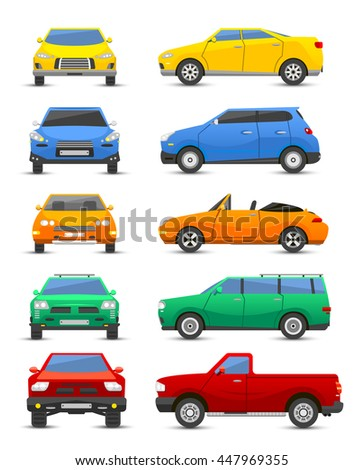 Different car vehicle type design sign technology style vector. Generic car different design flat vector illustration isolated on white. Pickup, sedan, bus and other car vehicle - stock vector