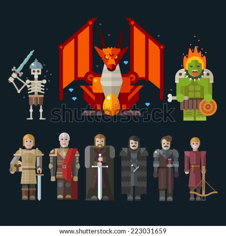 Different characters for the game: monster, skeleton, dragon, warriors. Sprites. Vector flat illustrations. - stock vector