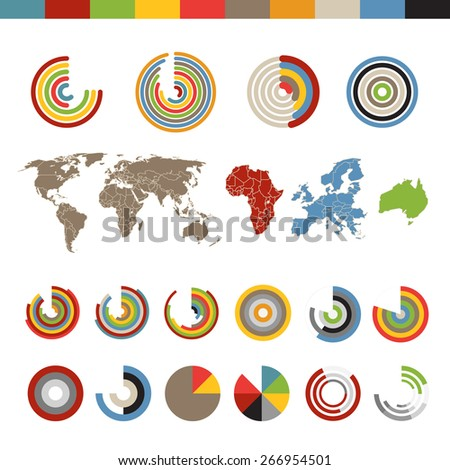 Different chart and indicators collection with the world map - stock vector
