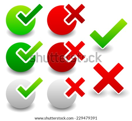 Different check mark and cross set - stock vector