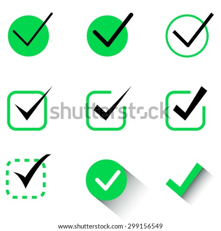Different checkboxes, isolated on white background - stock vector