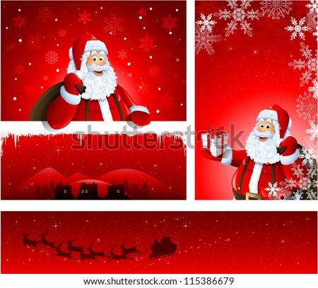 Different Christmas greeting card design with Santa Claus - stock vector