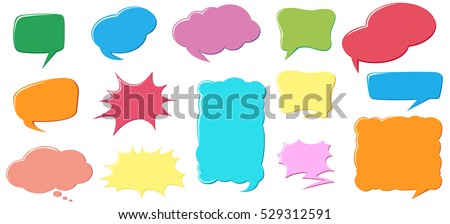 Different color and design of speech bubbles illustration