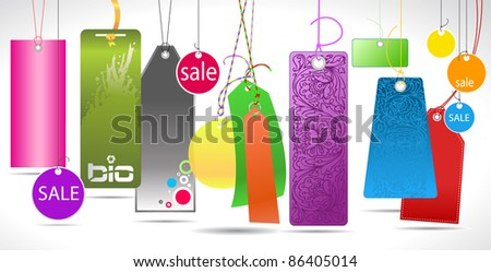different color and ornamental paper tags