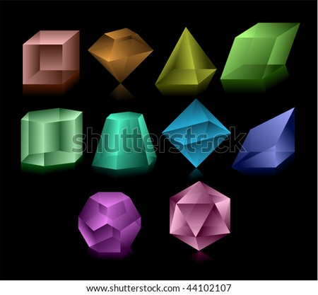 Different color glass figures - stock vector